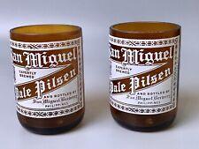Vtg San Miguel Pale Pilsen Beer Bottle (2) Glass Cups Brewery Man Cave Decor