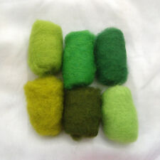 60 g / 2.1 oz Sheep Wool Fiber for Needle Felting 6 green color's set