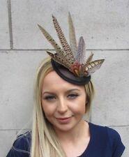 Black Brown Pheasant Feather Pillbox Hat Fascinator Races Hair Clip Sinamay 5516