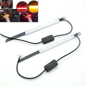 2Pcs Motorcycle Fork Turn Signals Light Ring LED Strips Lamp Safety Red Yellow
