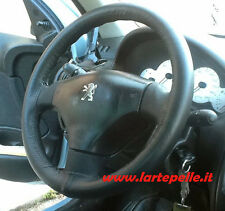 PEUGEOT 206 308 307 STEERING WHEEL COVER BLACK LEATHER