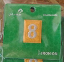 Girl Scout DAISY UNIFORM PATCH-NUMBER EIGHT #8 Yellow Troop Numeral Iron-On