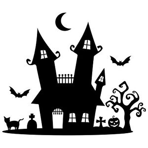 Large Haunted House Mansion Wall / Window Graphic Decal Sticker Halloween Spooky