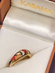 Authentic Kabana 14k Yellow Gold Ring Spiny Oyster, Inlay, Diamonds, size 7.25