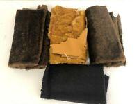 "Mix Lot x4 German Mohair Black Honey Brown Teddy Bear Fabric Approx 12""x20"" each"