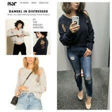 NSF Presley Distressed Navy Blue Sweater