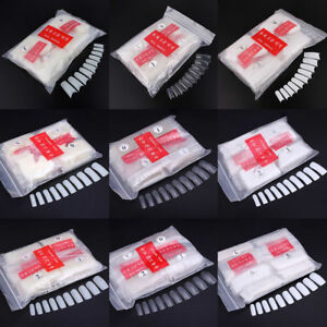 20-600pcs Natural White Clear French Full Acrylic UV Gel False Nail Tips DIY