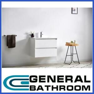 White 600mm Wall Hung Vanity With Ceramic Basin