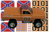General Lee Silverado 1:64 WATER-SLIDE DECALS FOR HOT WHEELS, MATCHBOX, SLOT CAR