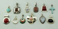 Lot of 12 - Sterling Silver Multi Gemstone Amber Turquoise Onyx Pendants - Heavy
