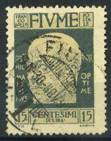 Fiume 1920 Sass. 115 Usato 100% 15 c. grigio D'Annunzio