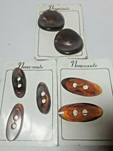 Vintage Nouveaute Sewing buttons lot of 7 Large Brown Unusual Shaped Fashion