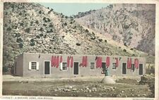 1910 New Mexico Postcard of an Adobe Home w Red Pepper Ristras Hanging fr Vigas