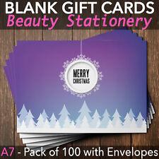 Christmas Gift Vouchers Blank Beauty Salon Card Nail Massage x100 A7+Envelope P