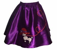 "Purple Satin Red Hat 50's Poodle Skirt Adult Size Large Waist 35""-41"" Length 25"""