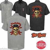 Hotrod 58 Mens Rockabilly Garage Work Shirt SKULL Classic Vintage Clothing 197
