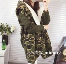Womens Jackets Fleece Coat Outwear Hooded Winter Warm Camo Army Green Overcoats