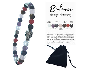 Buddha Gemstone Chakra Beaded Crystal Healing Bracelet 6mm beads Info Card Pouch