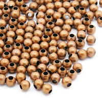 200pcs Brass Seamless Metal Beads Round Smooth Red Copper Tiny Loose Spacers 4mm