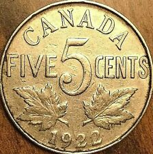 1922 CANADA KING GEORGE V 5 CENTS COIN - KM #29