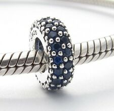 SPACER with BLUE CZ CHARM Bead Sterling Silver .925 4 European Bracelets 996