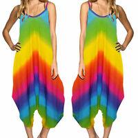 Ladies Tie Dye Summer Festival Strappy Baggy Boho Rainbow Harem Romper Jumpsuit