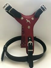 DOBERMAN DOG HARNESS REAL LEATHER PLAIN DESIGN-EXTRA LARGE WITH MATCHING LEAD