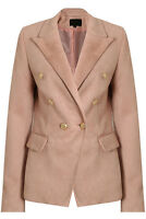 SALE Suede Double Breasted Gold Button Military Style Rose Pink Blazer Jacket