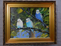 THE GREAT ESCAPE original oil on canvas painting artist signed birds PARAKEETS