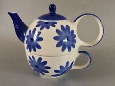 Whittard of Chelsea White & Blue Flowers Tea Clipper Tea for One - Teapot & Cup