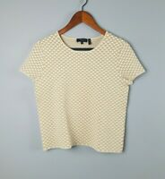 Theory Sz M Ferson Glossed Printed Boxy Top Beige White Heavy Quilted