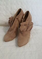 ZARA Womens Suede Ankle Boots Heels, Khaki Brown Size 40 EUC As New