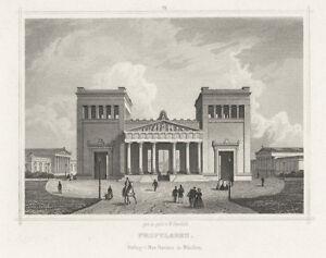 München: Propyläen (Königsplatz). - Stahlstich von Gunkel bei Ravizza, ca. 1860