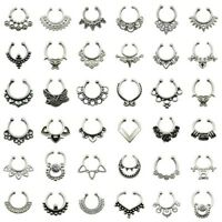 5-50PCS Fake Septum Clicker Non Piercing Nose Clip on Hanger Cheater Body Ring