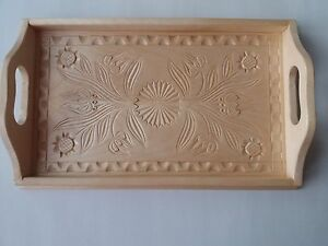 Natural maple wood small carved tray salver plate home decor serving dish unique