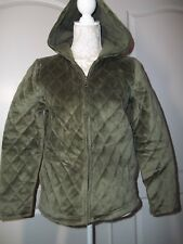 Charter Club Petite NEW long sleeve green Zip-up hooded Velour Jacket, Size P/P