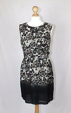 BNWT Topshop Grey Black Brown Abstract Fitted Shift Tea Dress Work Party size 10