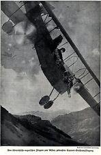1916 Luftkampf: Von k.u.k.Flieger abgeschossene Caproni * antique print