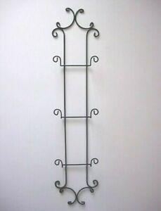 Sturdy Large Black Wrought Iron Metal Wall Rack for 3 Large Plates or Pictures