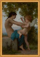 A young girl defending herself against Eros Bouguereau Angel Arrow B a2 03459