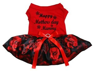 Happy Mother's Day Mummy Red Cotton Top Black Rose Tutu Pet Dog Puppy Dress