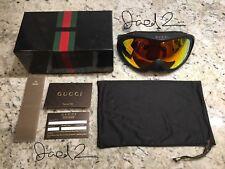 New! RARE Auth. Gucci Ski Goggles M00502 GG 1653. Black & Orange. Bag, Cards Box
