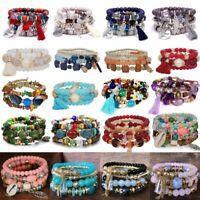 Women Boho Love Multilayer Natural Stone Crystal Charms Beaded Bracelet Bangle