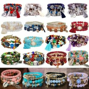 Women Boho Love Multilayer Natural Stone Crystal Charms Beaded Bracelet Bangle