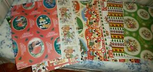 True Vintage Retro XMAS WRAPPING PAPER x 10 Different Sheets - 70s ?? NEW