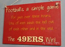 Simple Game San Francisco 49ers Sign Handmade Football Bar Jersey Tickets Cards