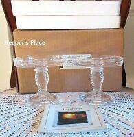 Set Of 2 Longaberger Glass Pedestal Candle Holders Clear Basket Weave New Box