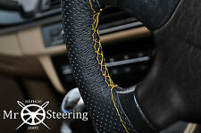 FOR AUDI A6 C6 PERFORATED LEATHER STEERING WHEEL COVER YELLOW DOUBLE STICH 04-09