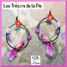Boucles d'oreilles LOL BIJOUX - Perroquet, fleurs & colibri - Rose - LOLILOTA