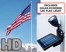 25ft Flagpole Set - Sectional Aluminum Pole with Solal Flag Light & 4' x 6' Flag
